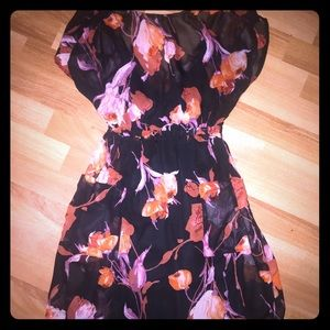Floral Sheer Mid Length Party Dress